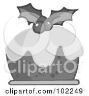Royalty Free RF Clipart Illustration Of Grayscale Holly Topped Christmas Pudding by Hit Toon