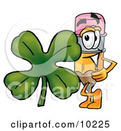 Pencil Mascot Cartoon Character With A Green Four Leaf Clover On St Paddys Or St Patricks Day
