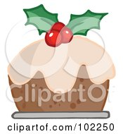 Royalty Free RF Clipart Illustration Of Holly Topped Christmas Pudding by Hit Toon