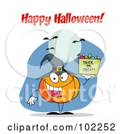 Royalty Free RF Clipart Illustration Of A Happy Halloween Greeting Over A Pumpkin