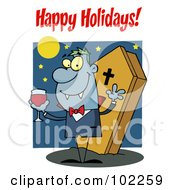 Royalty Free RF Clipart Illustration Of A Happy Holidays Greeting Over A Halloween Vampire by Hit Toon