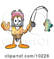 Pencil Mascot Cartoon Character Holding A Fish On A Fishing Pole by Toons4Biz