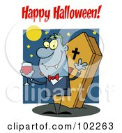 Royalty Free RF Clipart Illustration Of A Happy Halloween Greeting Over A Vampire by Hit Toon