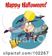 Happy Halloween Greeting Over A Witch And Cat With Bats