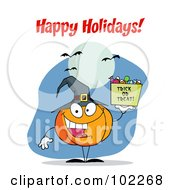 Royalty Free RF Clipart Illustration Of A Happy Holidays Greeting Over A Halloween Pumpkin