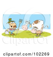 Royalty Free RF Clipart Illustration Of A Caucasian Farmer With His Cattle by Hit Toon