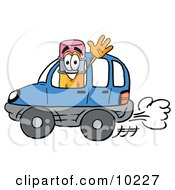 Pencil Mascot Cartoon Character Driving A Blue Car And Waving