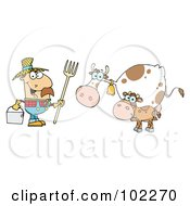Royalty Free RF Clipart Illustration Of A Caucasian Farmer Tending To His Cattle by Hit Toon