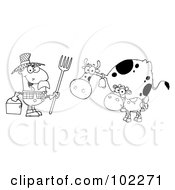 Royalty Free RF Clipart Illustration Of An Outlined Farmer Tending To His Cattle by Hit Toon