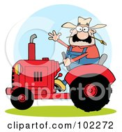 Caucasian Famer Waving And Driving A Red Tractor