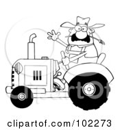 Royalty Free RF Clipart Illustration Of An Outlined Farmer Waving And Driving A Tractor