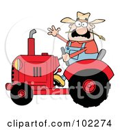 Royalty Free RF Clipart Illustration Of A Friendly Farmer Waving And Driving A Red Tractor