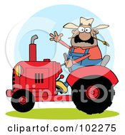 Royalty Free RF Clipart Illustration Of A Hispanic Farmer Waving And Driving A Red Tractor