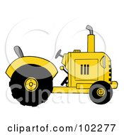 Royalty Free RF Clipart Illustration Of A Yellow Farm Tractor by Hit Toon