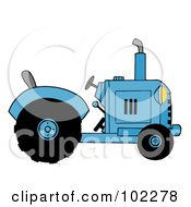 Royalty Free RF Clipart Illustration Of A Blue Farm Tractor by Hit Toon