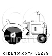 Royalty Free RF Clipart Illustration Of A Black And White Farm Tractor by Hit Toon