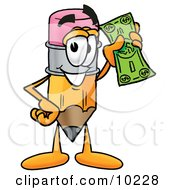 Pencil Mascot Cartoon Character Holding A Dollar Bill