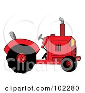 Royalty Free RF Clipart Illustration Of A Red Farm Tractor