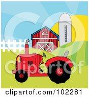 Red Farm Tractor In A Pasture Near A Barn And Silo