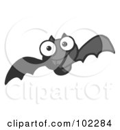 Royalty Free RF Clipart Illustration Of A Flying Black Vampire Bat by Hit Toon