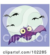 Royalty Free RF Clipart Illustration Of A Flying Purple Vampire Bat And Full Moon