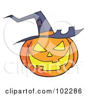 Royalty Free RF Clipart Illustration Of A Jack O Lantern Wearing A Witch Hat