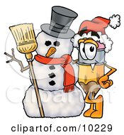 Pencil Mascot Cartoon Character With A Snowman On Christmas