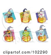 Royalty Free RF Clipart Illustration Of A Digital Collage Of Happy Animals And Jack O Lanterns