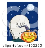 Royalty Free RF Clipart Illustration Of A Jack O Lantern By A Tombstone