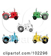 Royalty Free RF Clipart Illustration Of A Digital Collage Of Black And White Red Green Blue And Yellow Farm Tractors by Hit Toon