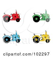 Royalty Free RF Clipart Illustration Of A Digital Collage Of Red Green Blue And Yellow Farm Tractors by Hit Toon