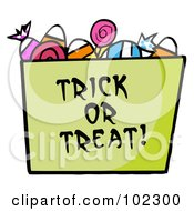 Royalty Free RF Clipart Illustration Of A Green Trick Or Treat Bucket Of Candy