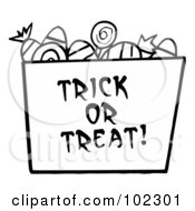 Royalty Free RF Clipart Illustration Of A Black And White Trick Or Treat Bucket Of Candy