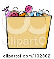 Royalty Free RF Clipart Illustration Of A Trick Or Treat Bucket Of Candy