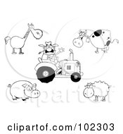 Royalty Free RF Clipart Illustration Of A Digital Collage Of An Outlined Farmer On A Tractor With A Horse Cow Pig And Sheep