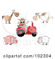 Royalty Free RF Clipart Illustration Of A Digital Collage Of A Caucasian Farmer On A Tractor With A Horse Cow Pig And Sheep