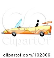 Royalty Free RF Clipart Illustration Of A Unique Yellow Convertible Car
