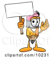 Pencil Mascot Cartoon Character Holding A Blank Sign