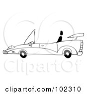 Royalty Free RF Clipart Illustration Of An Outlined Unique Convertible Car