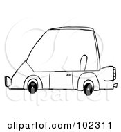 Royalty Free RF Clipart Illustration Of An Outlined Unique Compact Car