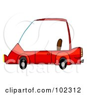 Royalty Free RF Clipart Illustration Of A Unique Red Compact Car