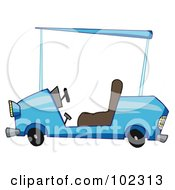 Royalty Free RF Clipart Illustration Of A Blue Golf Cart by Hit Toon