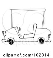 Royalty Free RF Clipart Illustration Of An Outlined Golf Cart