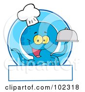 Royalty Free RF Clipart Illustration Of A Blue Octopus Chef Logo by Hit Toon