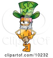 Pencil Mascot Cartoon Character Wearing A Saint Patricks Day Hat With A Clover On It
