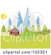 Royalty Free RF Clipart Illustration Of A Barn And Silo With Fields Near Mountains by Hit Toon