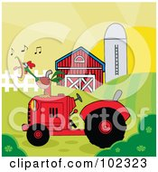 Rooster Crowing On A Tractor Near A Barn