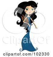 Royalty Free RF Clipart Illustration Of A Beautiful Virgo Zodiac Woman In A Blue Dress