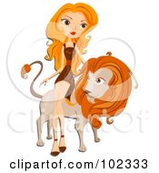 Royalty Free RF Clipart Illustration Of A Beautiful Leo Zodiac Woman Leaning Against A Lion by BNP Design Studio