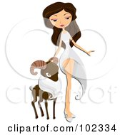 Beautiful Aries Zodiac Woman Walking With A Ram